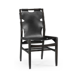 Jonathan Charles Architects House Midcentury Style Slung Black Leather & Black Mocha Oak Dining Side Chair