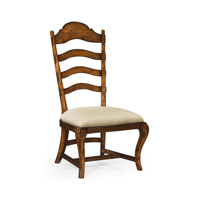 Jonathan Charles Artisan Rustic Walnut Dining Side Chair, Upholstered In Mazo