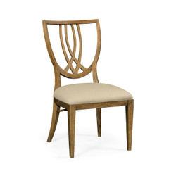 Jonathan Charles Cambridge Shield Back English Brown Oak Dining Side Chair, Upholstered In Mazo