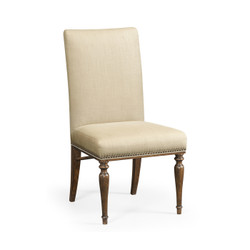 Jonathan Charles Cambridge Square Back Bleached Crotch Walnut Dining Side Chair, Upholstered In Mazo