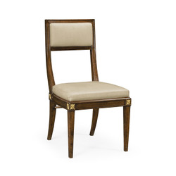 Jonathan Charles Cambridge Open Back Bleached Crotch Walnut Dining Chair, Upholstered In Mazo