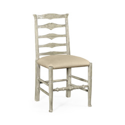Jonathan Charles Casually Country Rustic Grey Ladder Back Side Chair, Upholstered In Mazo