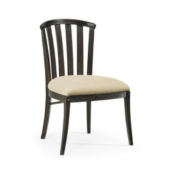 Jonathan Charles Casually Country Dark Ale Style Curved Back Side Chair, Upholstered In Mazo