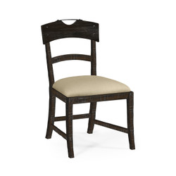 Jonathan Charles Casually Country Planked Dark Ale Dining Side Chair, Upholstered In Mazo