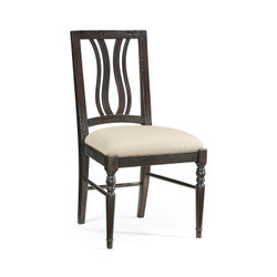Jonathan Charles Casually Country Dark Ale Curved Back Dining Side Chair, Upholstered In Mazo