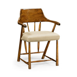 Jonathan Charles Casually Country Dining Chair In Country Walnut, Upholstered In Mazo