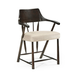 Jonathan Charles Casually Country Dining Chair In Dark Ale, Upholstered In Mazo