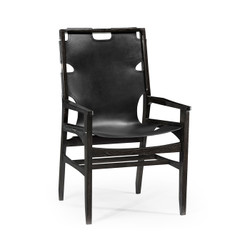 Jonathan Charles Architects House Midcentury Style Slung Black Leather & Black Mocha Oak Dining Armchair