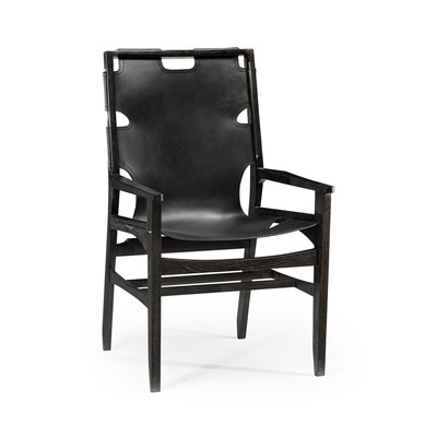 Jonathan Charles Architects House Midcentury Style Slung Black Leather & Black Mocha Oak Dining Armchair