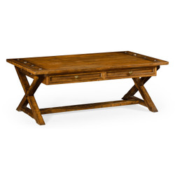 Jonathan Charles Casually Country Country Walnut Coffee Table With Drawers