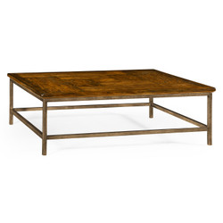 Jonathan Charles Casually Country Country Walnut Square Coffee Table With Iron Base