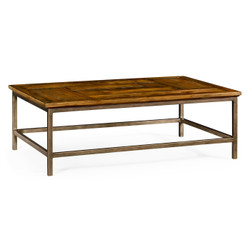 Jonathan Charles Casually Country Country Walnut Rectangular Coffee Table With Iron Base