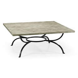 Jonathan Charles Casually Country Rustic Grey Panelled Square Coffee Table
