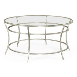 Jonathan Charles Simply Elegant Silver Round Iron Coffee Table With A Clear Glass Top