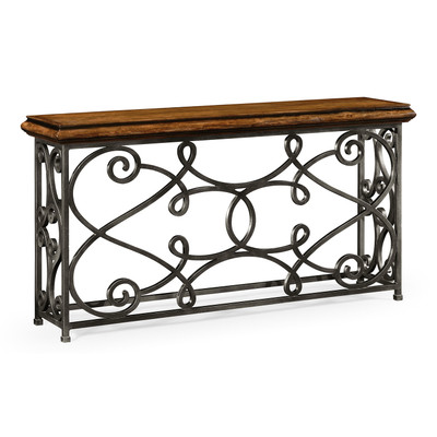 "Jonathan Charles Artisan 72"" Width Rectangular Rustic Walnut Console With Wrought Iron Base"