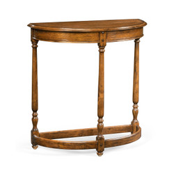 Jonathan Charles Casually Country Country Walnut Demilune Console Table