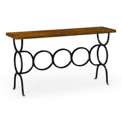 Jonathan Charles Casually Country Country Walnut Console With Circular Wrought Iron Base