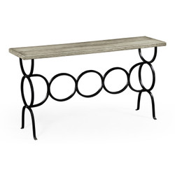 Jonathan Charles Casually Country Rustic Grey Console With Circular Wrought Iron Base