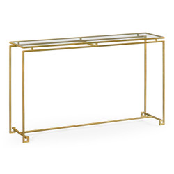 Jonathan Charles Simply Elegant Gilded Iron Large Console Table With A Clear Glass Top