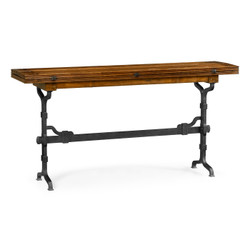 "Jonathan Charles Casually Country 63"" Rectangular Country Walnut & Iron Hunt Table"