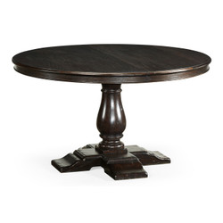 "Jonathan Charles Casually Country 55"" Circular Dark Ale Extending Dining Table"
