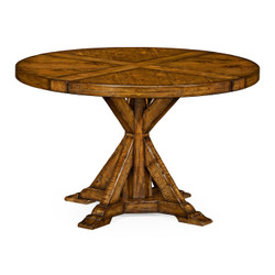 "Jonathan Charles Casually Country 48"" Country Walnut Circular Dining Table"
