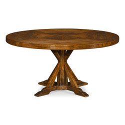 "Jonathan Charles Casually Country 60"" Country Walnut Round Dining Table With Inbuilt Lazy Susan"