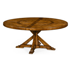 "Jonathan Charles Casually Country 72"" Country Walnut Round Dining Table With Inbuilt Lazy Susan"