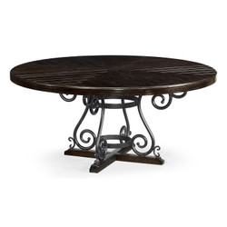 "Jonathan Charles Casually Country 66"" Dark Ale & Wrought Iron Dining Table"