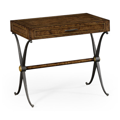 Jonathan Charles Anvil Hammered Iron Side Table With Drawer