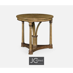 Jonathan Charles Cambridge Round English Brown Oak Lamp Table