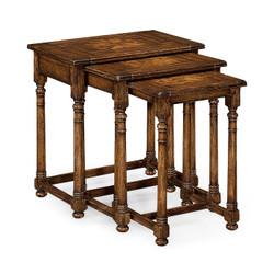 Jonathan Charles Huntingdon Nest Of Three Walnut Oyster Tables
