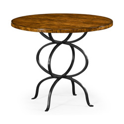 Jonathan Charles Casually Country Country Walnut Bistro Style Panelled Round Centre Table