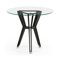 "Jonathan Charles Architects House 24"" Midcentury Style Circular Black Mocha Oak Side Table With Glass Top"