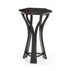 Jonathan Charles Architects House Architectural Hexagonal Black Mocha Oak Oyster Lamp Table