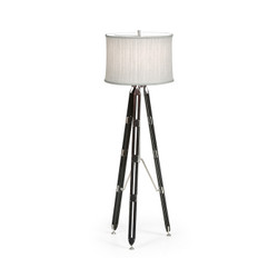 "Jonathan Charles Architects House 64"" Black Mocha Oak Architectural Floor Lamp"