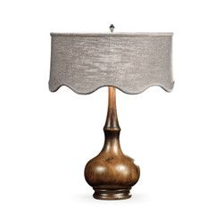 Jonathan Charles Artisan Rustic Walnut Wood Table Lamp