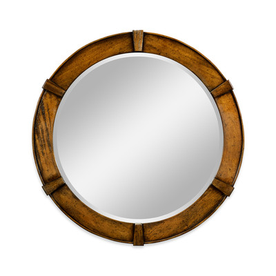 Jonathan Charles Casually Country Country Walnut Round Mirror