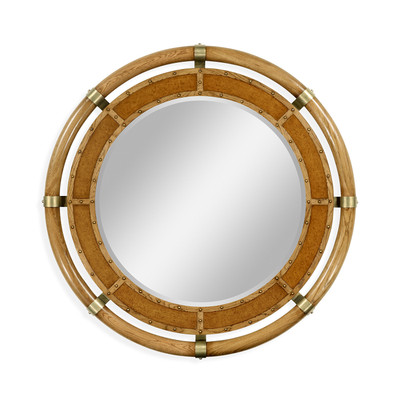 Jonathan Charles Voyager Circular Nautical Style Oak And Leather Mirror