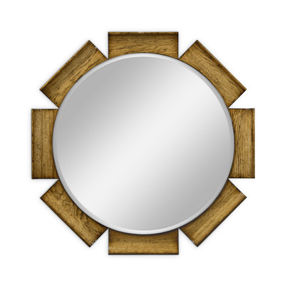 Jonathan Charles Sussex Round Porthole Light Brown Chestnut Mirror
