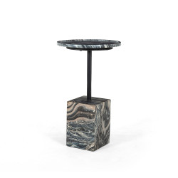 Four Hands Foley Accent Table - Black Dune Marble