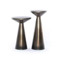 Four Hands Cameron Accent Tables, Set Of 2 - Ombre Antique Pewter