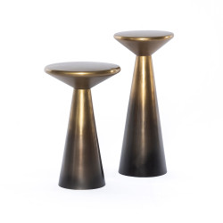 Four Hands Cameron Accent Tables, Set Of 2 - Ombre Antique Brass