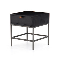 Four Hands Trey End Table - Black Wash Poplar