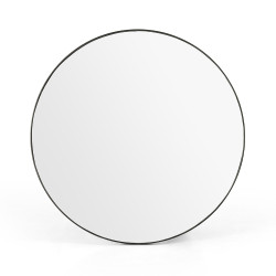 Four Hands Bellvue Round Mirror - Large - Rustic Black