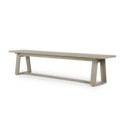 Four Hands Atherton Outdoor Dining Bench - Weathered Grey