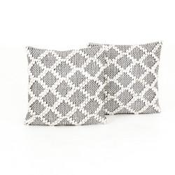"Four Hands Black & Cream Diamond Pillow, Set Of 2 - 20X20"""