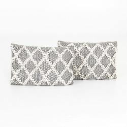 "Four Hands Black & Cream Diamond Pillow, Set Of 2 - 16X24"""