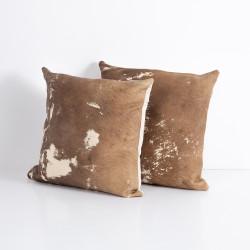 Four Hands Modern Cowhide Pillow, Set Of 2 - Warm Brown
