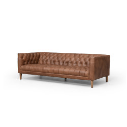 """Four Hands Williams Leather Sofa - 75"""" - Natural Washed Chocolate"""